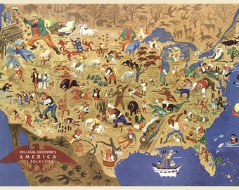 William Gropper's America, its folklore.  Shows characters and names or titles from American folklore on a map of the United States.