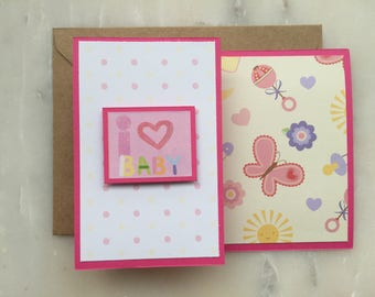 New Baby Card - Baby Shower Card, Pregnancy Card, Baby Congrats Card, New Mom Card