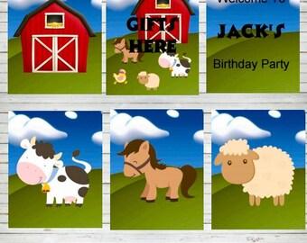 Barnyard Farm Animals Birthday Party Poster Editable Welcome Posters Farm Sheep Horse Decorations Cow Farm Birthday Party Ideas DIY B10