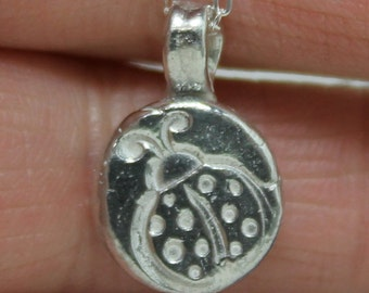 Lady bug  Silver Pendant Tiny Pendant My Lil lady necklace Daughter gift