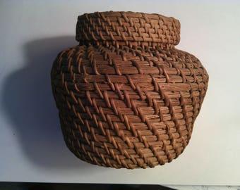 Unique 1940s Coil Reed Basket