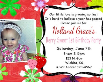 Digital 1st Birthday invite with flowers and berries