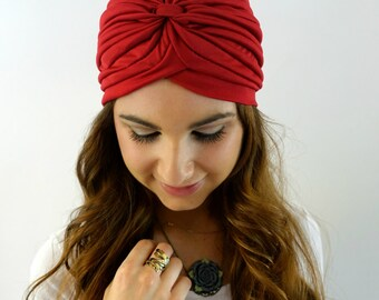 Wine Red Turban Hat Womens Turban Cloche Full Head Turban Stretch Turban Hat Pleated Design Womens Hat - CHOOSE Your Color