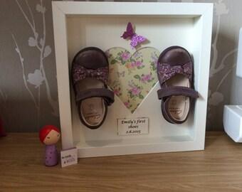 Keepsake framed shoe picture. Shoe keepsake