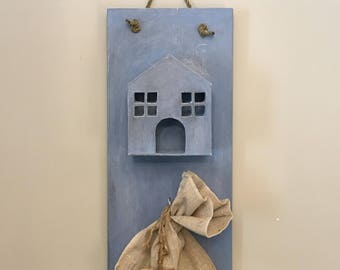 Painted Wood House  Wooden Houses  Houses as Ornaments  Gifts for Her  Houses for Decor  House wood house candle holder