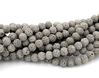 Gray Lava Rock Round 6mm Natural Lava Stone Beads -15.5 inch