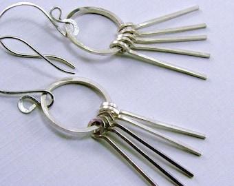 Sterling Silver Short Strands Earrings, Handmade Sterling Silver Strand Earrings