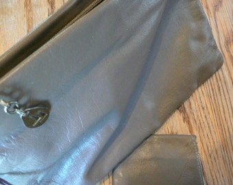 Grey Leather Rectangular Clutch Purse With Change Purse Attached 1990s
