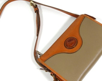 Vintage Dooney and Bourke A6 Leather Purse, British Tan and Taupe Handbag, All Weather Leather Bag