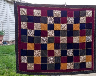 51 x 60 Vintage Hand Quilted Velvet & Satin Victorian Style Quilt Family Heirloom Multi Color Print Squares Country Cottage Shabby Chic Gift