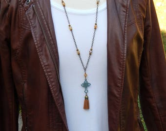 Leather Tassel Necklace - Cross Necklace - Long Tassel Necklace - Christian Necklace -  Religious gift - Catholic jewelry - Christian gift