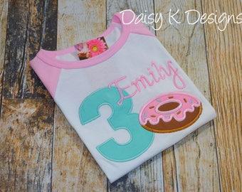 Donut Birthday Girl's Tshirt - Light Pink and White Raglan Shirt - Embroidered - Any Age