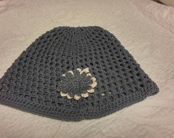 Ladies handmade crochet beanie great for warmer seasons very light one size fits all