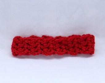 Handmade self crocheted baby girl headband in red
