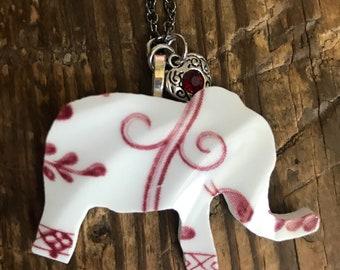 Vintage Broken China Elephant Necklace