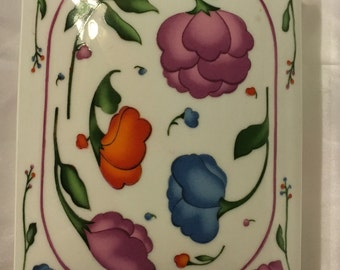 Porcelain Floral Storage Box for Playing Cards or Trinkets