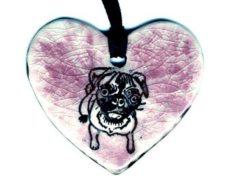 I Heart Pugs Ceramic Necklace in Pink