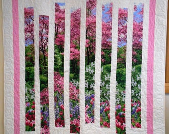 "Botanic Garden Fracture Quilt,  Handmade Throw Quilt, Garden Wall Quilt, Strips of Garden Quilt 57"" x 70"""