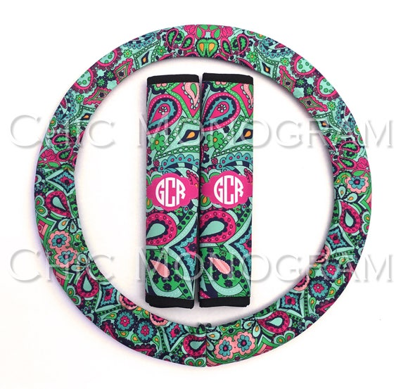 Monogrammed Steering Wheel Cover & Seat Belt Cover Set Custom Padded Insulated Steering Wheel Cover Seat Belt Lilly Inspired Paisley Jewels