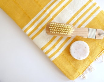 Natural Turkish Towel, Peshtemal, Bath and Beauty, Bath and Body, Soft Cotton, Beach, Dark Yellow, summer coverups, bridesmaid, halloween