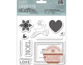"Set of 11 rubber stamps, Docraft brand, ""Craft Chistmas"" collection"