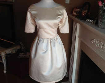 Champagne bridesmaid dress, 50s vintage inspired dress
