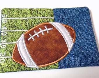 Football Applique and Embroidered Mug Rug Coffee Mat Candle Mat Drink Coaster Gift Decorative Snack Table Desk Mat Green Blue White
