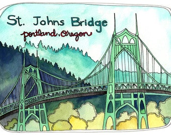 Postcards - Postcard Set - Portland Postcards - Illustrated Portland Postcards - St Johns Bridge Postcards - Set of 3 Portland Postcards