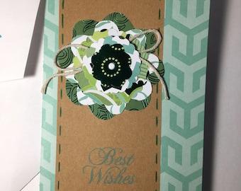 3D Flower green and Kraft birthday card