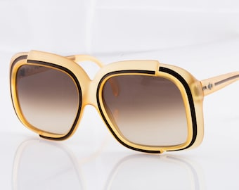 Christian Dior 1970's Optyl Clear Yellow Sunglasses with Brown Striped Detail and a Matte Finish 2042