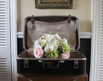 Vintage Suitcase, Featherlite Dark Brown Suitcase, Suitcase Made by Sears, Large Brown Suitcase, Brown Luggage, Creative Storage