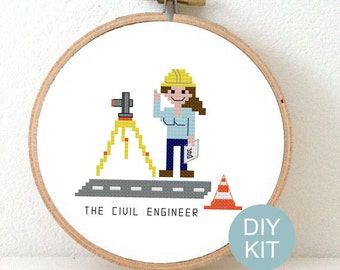 Cross Stitch Kit Civil Engineer. Gift for female engineer. DIY New job gift. Embroidery kit including hoop.