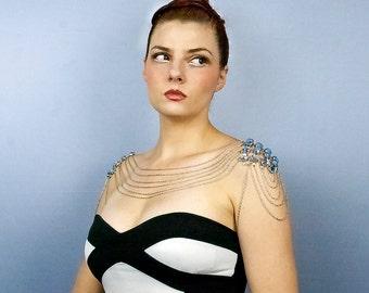 Baby Blue Rhinestone Wedding Jewelry Shoulder Chain Necklace