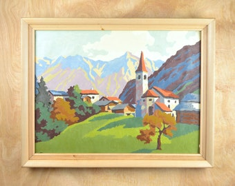 """Vintage Paint By Numbers """"Swiss Village"""", 1952, framed"""