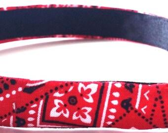 Red Bandana Headband 3/4 Inch