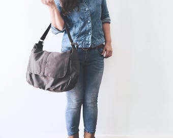 Mothers day Sale 25% - Gray Messenger diaper bag,Cross body bag , women shoulder bag,canvas school bag, mom Travel bag / no.18 -DANIEL