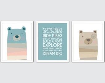 Bear Nursery Art, Set of 3 Print, Woodland Prints Bear, Bear Woodland Prints, Kids Bear Art Print, Woodland Print Bear, Blue Bear Wall Print