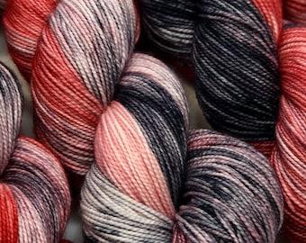 Hand dyed sock yarn, superwash merino & nylon, 400 yds / 100 grams. Great for knitting, crocheting, weaving