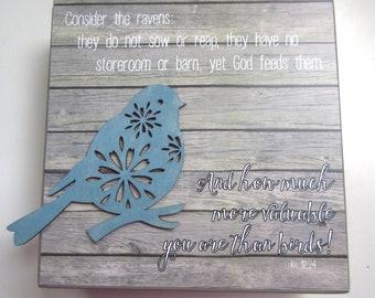 Pensez au corbeaux WORD Art mur étagère Art Art Aqua corail gris w / Bird, Luc 12:24 ne vous inquiétez pas