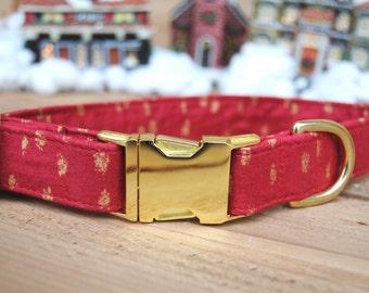 Christmas Dog Collar, Red and Gold, Metallic Gold Detail, Designer Dog Collar, Male, Female, Metallic Gold Metal Buckle