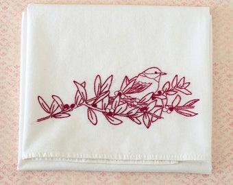 Chickadee Bird Berries Redwork Hand Embroidery Kitchen Towel Kit
