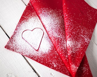 Valentine day napkins - Red linen  cloth napkins -  Red Hemstitch napkins - Red napkins - Linen napkin cloths - Valentine's day table decor