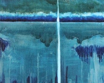 Chasing dusk,abstract,landscape,blues,greens,drips,glaze,wood,oil painting,abstract expressionism,blue period,nocturnal