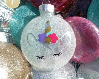 Personalized Unicorn Ornament, Glittered Unicorn Ornaments, Custom Ornament, Hanukkah Decoration, Christmas Decoration,