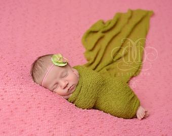 Lemongrass Green Stretch Knit Wrap Newborn Baby Photography