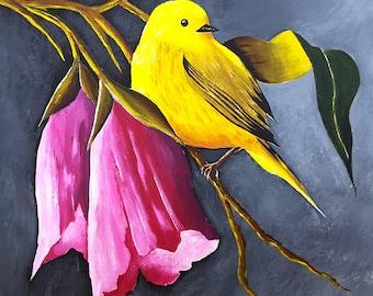 Original Acrylic Bird Painting and Flowers, wildlife, animal, birds, Art, living room decor, bedroom decor, wall art