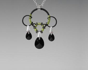 Black Swarovski Crystal Pendant, Peridot Wire Wrapping, Swarovski Necklace, Jet Swarovski Crystal, Industrial Jewelry, Dysnomia v4