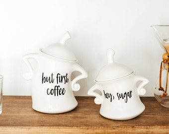 But First Coffee   Kitchen Canister Set   Choose from 1 or 2 pieces   but first   coffee   Sugar   Kitchen Canister
