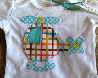 Helicopter applique gown, helicopter infant gown, helicopter baby gown