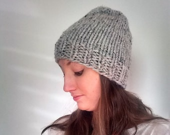 Knit Beanie Hat, Gray Knit Slouchy Hat, Winter Knit Hat, Chunky Knit Hat- Grey Marble - Harlan Hat